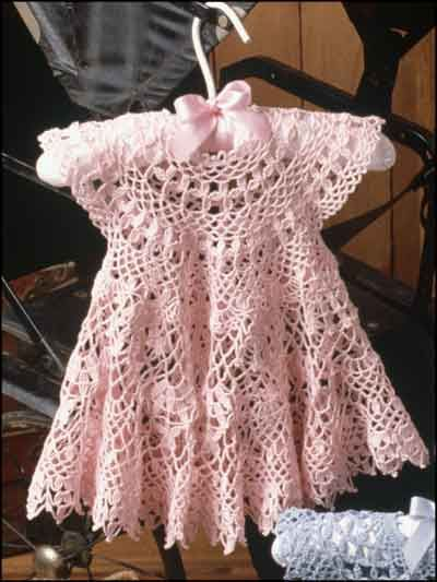 This beautiful frock will make any little girl look like a princess. Size: Newborn-3 mo. (3-6 mo, and 9-12 mo.) Skill Level: Intermediate