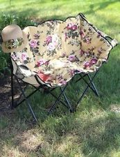 Victorian Trading Co Double Seat Floral Lawn Chair Folding Glamping NIB