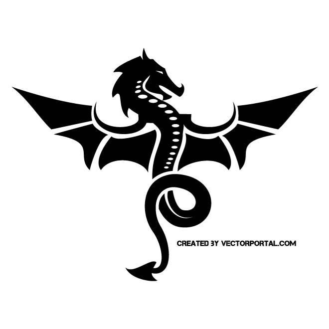 Black dragon silhouette. | Animal Vectors | Pinterest ...