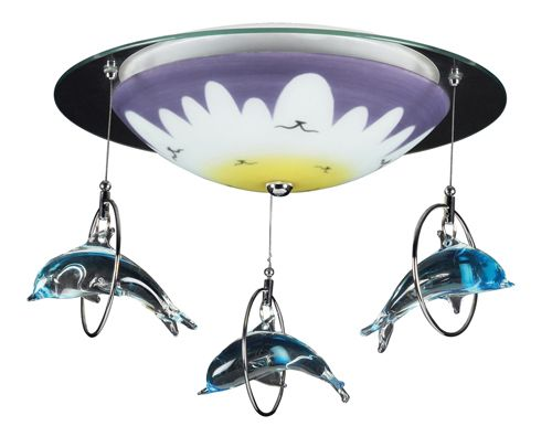 Dolphin Splash Ceiling Light in Satin Nickel www.sweetretreatkids.com #sweetretreatkids  #dolphinlight #kidslighting #kidsdolphin