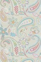 Tapete Indira col.01 | Blumentapete in den Farben hellblau-rosa-gold-graubraun | Grundton beige