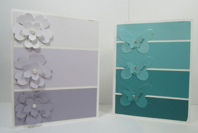 hand crafted cards found on Personally Yours ... by Lilly Ruiz ... lue the ombré chips with layer punches/die cuts in tone on tone colors ... great colors ...