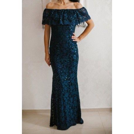 Granatowa długa sukienka koronkowa z falbaną i cekinami