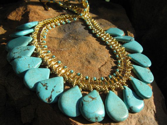 Turquoise Statement Necklace Gold or Silver Hand woven