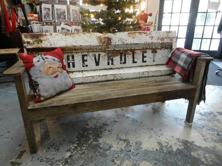 Repurposed tail gate!  Maybe your next diy project @Sarah Printz