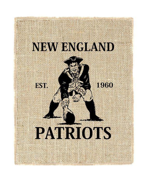 New England Patriots Unframed, Football, Patriots Art, Burlap Wall Decor, Burlap Wall Art