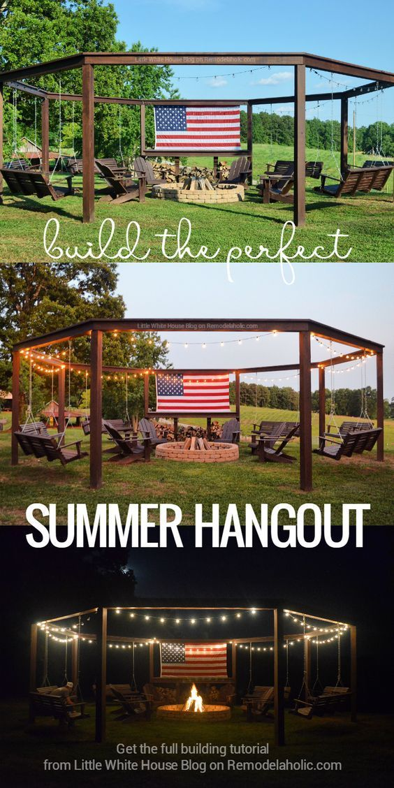 Build the perfect summer hangout! How to build a swingset pergola around a firepit, full tutorial from Little White House Blog on Remodelaholic.com