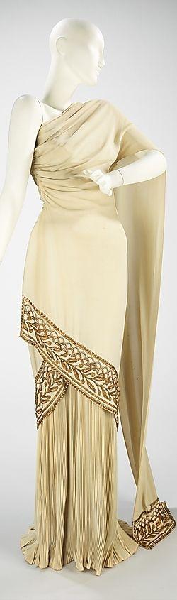 Love this classically inspired evening dress.......Evening dress - Spring Summer 1944 Mme. Eta Hentz (American, born Hungary)