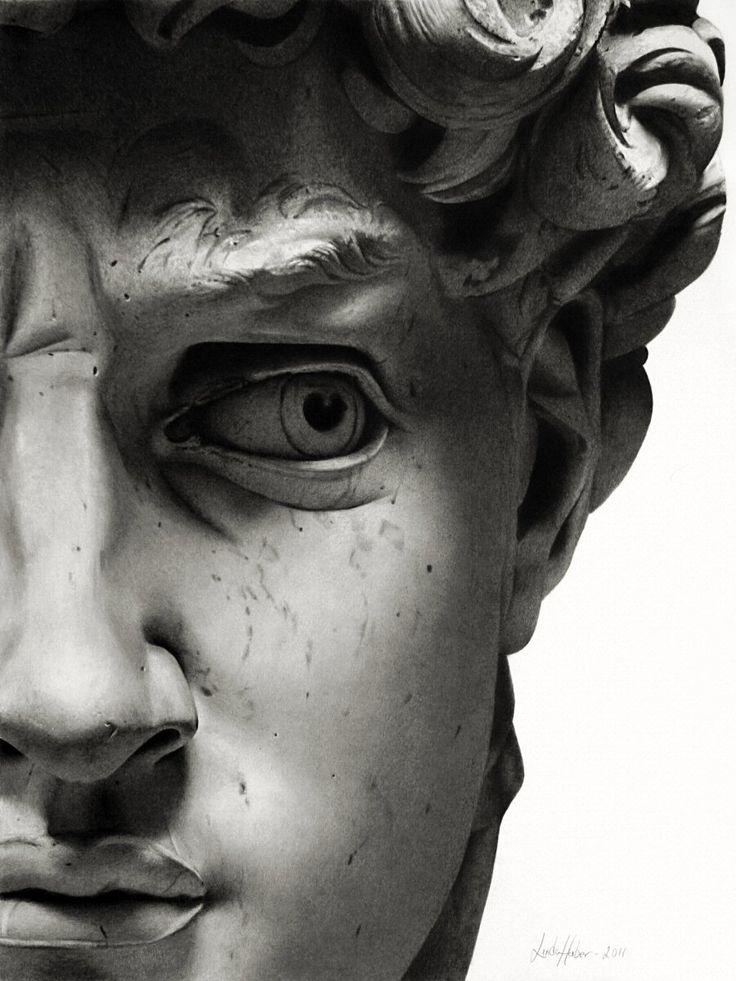 David: Sculpture, Artists, Florence Italy, Linda Huber, The Faces, Pencil Drawings, Michelangelo David, Pencil Art, Eye