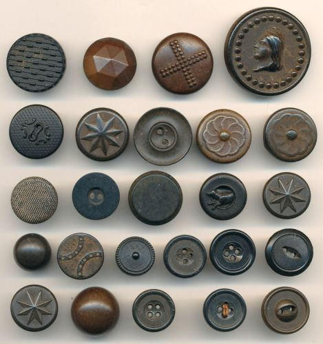 ANTIQUE BUTTONS-CIVIL WAR ERA GOODYEAR RUBBER BUTTONS LOT#4 PATENT 1851 LIBERTY 25 GOODYEAR RUBBER BUTTONS, ALL BACKMARKED, MOST WITH THE PATENT DATE 1851. THERE'S EVEN ONE DATED 1875.  INCLUDED ARE A VARIETY OF PATTERNS, LADY LIBERTY, DOG, CROSS, STARS. THESE BUTTONS WERE POPULAR DURING THE CIVIL WAR PERIOD, AND ARE TRUE AMERICANA. BE SURE TO USE THE MAGNIFYING FEATURE TO SEE THE DETAILS AND BACKMARKS ON THESE AMERICAN MADE BUTTONS.  SOLD $47.00 on 3/17/2014