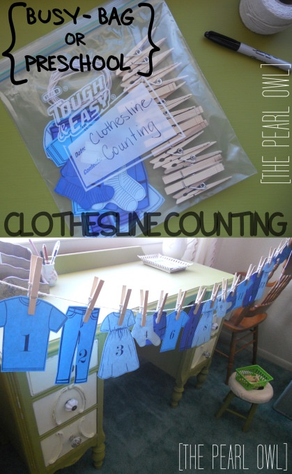 Busy Bag / Preschool Ideas...actually...I could put a clothesline up in the girls room with clothes pins so they can hang their dress up clothes. It would be a good fine motor skill, and cute!
