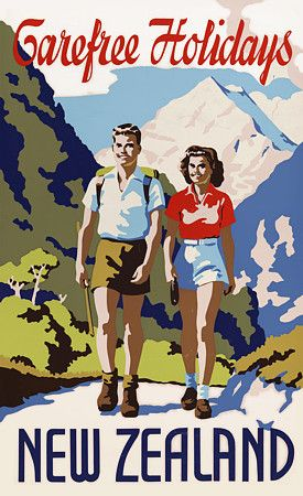 Carefree Holidays in New Zealand c.1930s http://www.vintagevenus.com.au/products/vintage_poster_print-tv644
