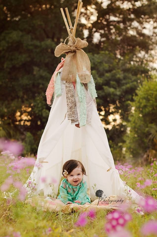 6 Month Baby Girl Teepee Flower Field Session