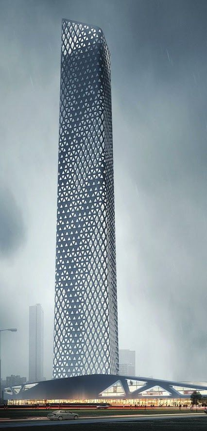 Goettsch Partners announced the start of construction on the 445 meter tall mixed use Nanning China resources Center Tower.  The tower's design is derived from its multiple uses, which include 170,000 sm of Class A office space, 5,000 sm of boutique retail, and a 45,000 sm luxury Shangri-La Hotel.  Location: Nanning, capital of the Guangxi Province, China.  Photo: google+