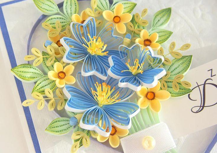 Квиллинг открытка с лилиями
