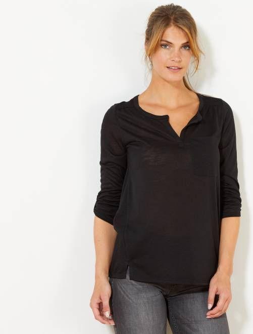 2d5a3a415 Camiseta de manga larga negro Mujer talla 34 to 48- Kiabi