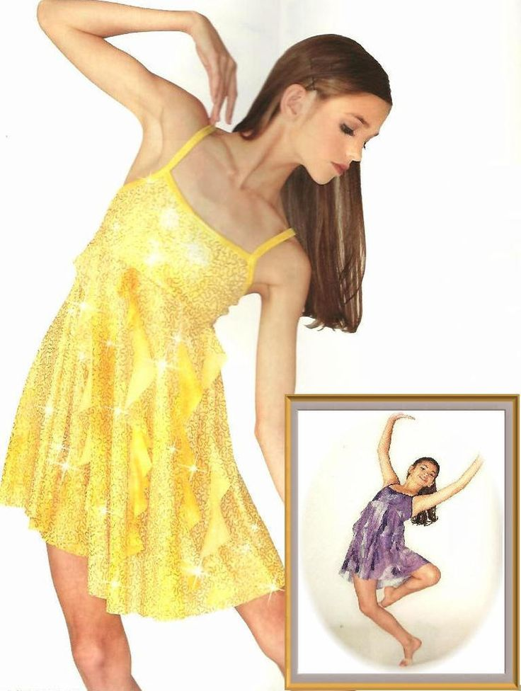 Here I Am Dance Costume YELLOW or PURPLE Glitter Dress Clearance  CS,CM,AM,AXL