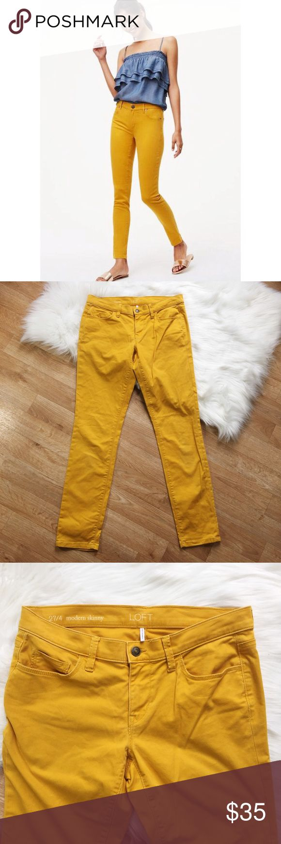 LOFT Yellow/Orange Skinny Jeans LOFT Yellow/Orange Skinny Jeans. Mid rise. Size 4.   Happy to answer any questions!  Thanks for looking!   OFFERS are welcome!  ** 10% off Bundles of 3+ ** Ships within 24 hours!  Smoke free home. No trades or Paypal. LOFT Jeans Skinny