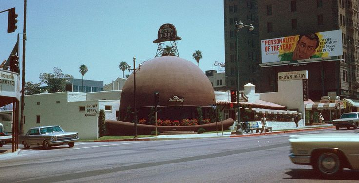 Brown Derby Restaurant , Los Angeles , Kodachrome by Chalmers Butterfield - Brown Derby - Wikipedia, the free encyclopedia -- The original Wilshire Boulevard Brown Derby. (established in 1926)