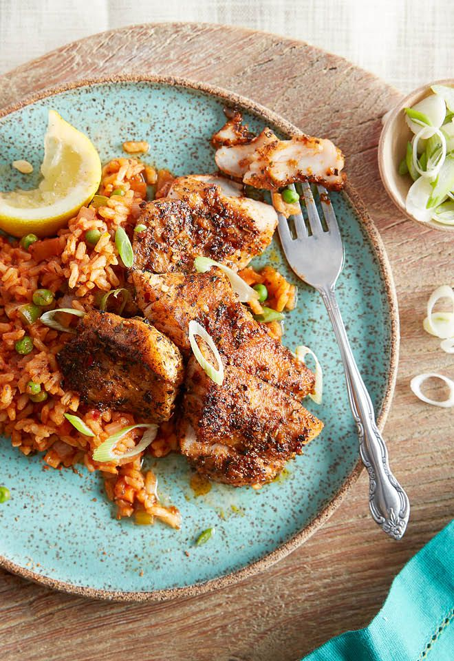 Looking for some weeknight dinner inspiration? Red snapper is a versatile fish: serve it blackened with Cajun rice for an easy meal.
