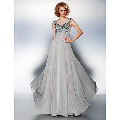 A-line Scoop Floor-length Chiffon Evening Dress – USD $ 129.99