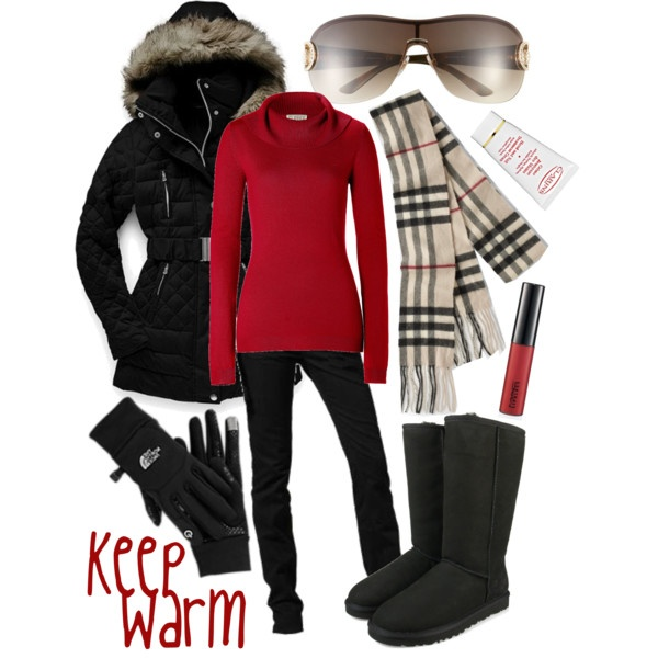 Keep Warm! North face jacket, a red sweater, black skinny jeans, Burberry scarf, black boots