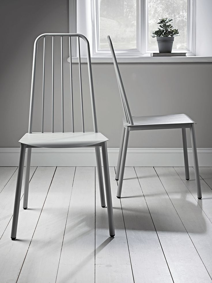 NEW Two Metal Café Chairs - Grey