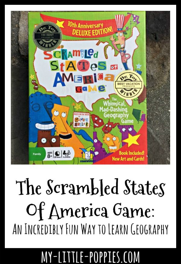 Your children will learn U.S. geography quickly, and will have so much fun, with the game Scrambled States. Stealth learning at its best!