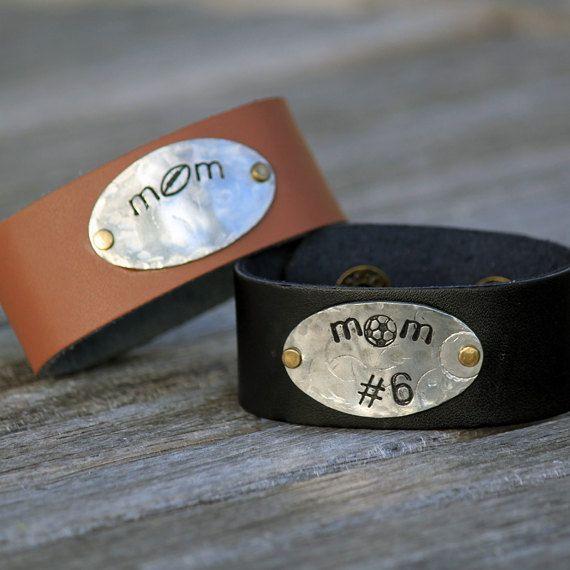 Personalized Leather Cuff Bracelet  Football  Baseball by SportFAB