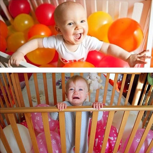 Pinterest fail baby's first birthday balloons cot
