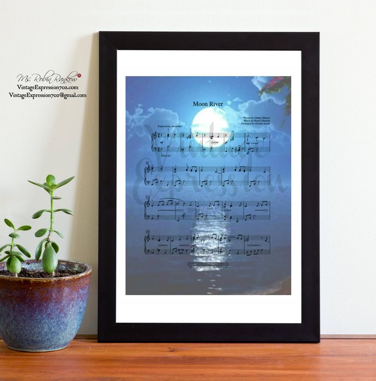 Moon River, Frank Sinatra, Henry Mancini, Audrey Hepburn, Breakfast at Tiffany's. Music Sheet, Print, Art by VintageExpression702 on Etsy