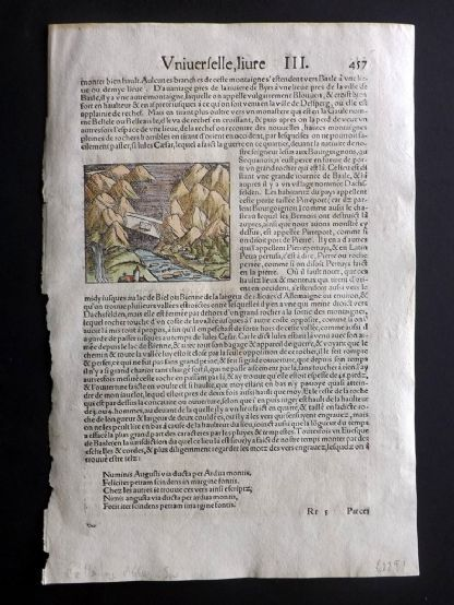 Sebastian Munster C1580 HCol Woodcut. Bellelay Abbey, Switzerland