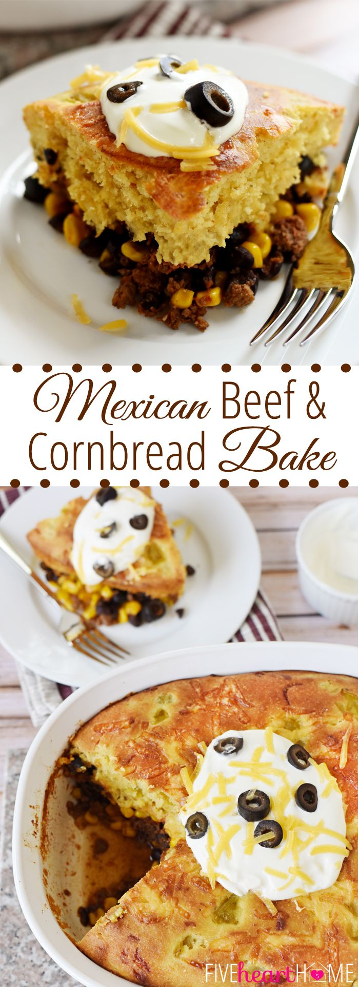 Mexican Beef and Cornbread Bake ~ taco-seasoned beef, black beans, and corn are topped with green chile cheddar cornbread in this quick, easy, comforting casserole | FiveHeartHome.com