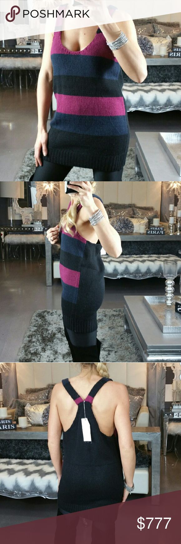 """Knitted tank top New with tags  Knitted low cut tank top. Wear with or without a top underneath. Pair with leggings, boots and a denim jacket. Could be worn as a mini dress with a turtleneck underneath and knee high boots.  100%acrylic Size medium Length 30"""" Bust approx 18"""" across  💖Shop with confidence 💖 🎊🎉Suggested User 🎊🎉 💌📮Same day shipping 📮 💌  5 star 🌟 🌟 🌟 🌟 🌟 rated closet Tops Tank Tops"""
