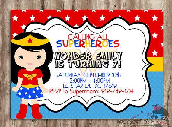 WONDER WOMAN Birthday Invitation, SuperHeroes Invite, Superhero Wonder Woman Invite, Digital Printable, 5 x 7 JPG File on Etsy, $10.00