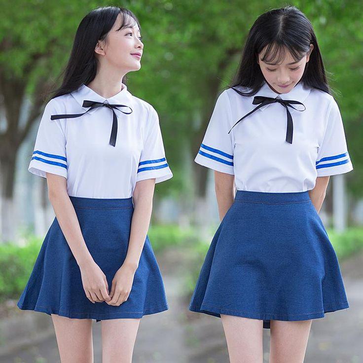 Japanese kawaii naval uniform cosplay students shirt + short skirt two-piece
