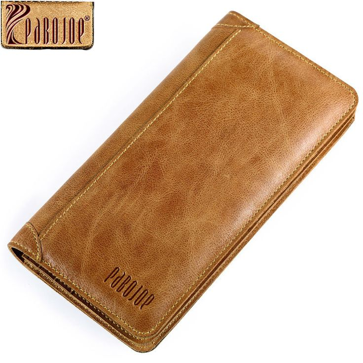 Pabojoe Mens Bifold Wallet Italian 100% Pure Genuine Leather Organizer Checkbook Card Case