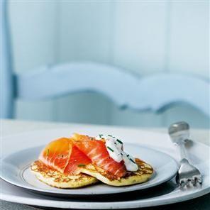Warm potato pancakes with Scottish smoked salmon Recipe   delicious. Magazine free recipes