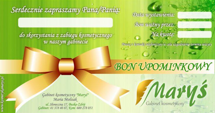 Projekt graficzny i wydruk cyfrowy bonów upominkowych dla Gabinetu Kosmetycznego Maryś z Buska-Zdroju.