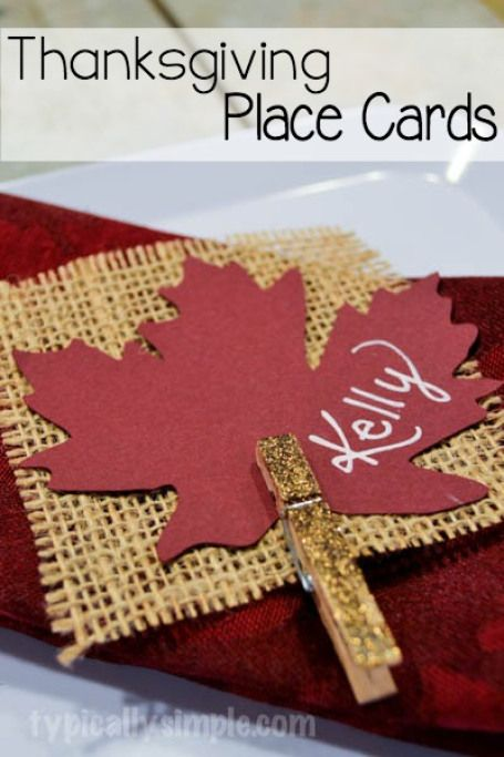 Use these easy to make place cards to dress up the table for Thanksgiving - with a little glitter and some burlap squares, this fall craft is quite simple to create!