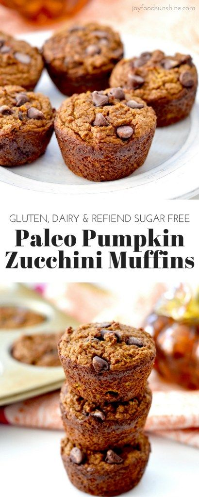 Paleo Pumpkin Zucchini Muffins! Summer and fall collide in this healthy & delicious breakfast recipe! Gluten, dairy and refined sugar free! Freezer-friendly!