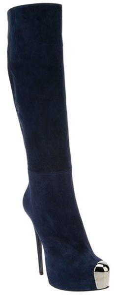 Gianmarco Lorenzi | Platform Boot in Blue suede with metal toe cap