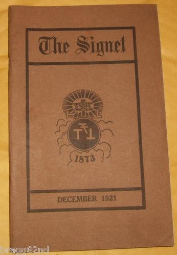 1921 December THE SIGNET Phi Sigma Kappa Fraternity PSK booklet