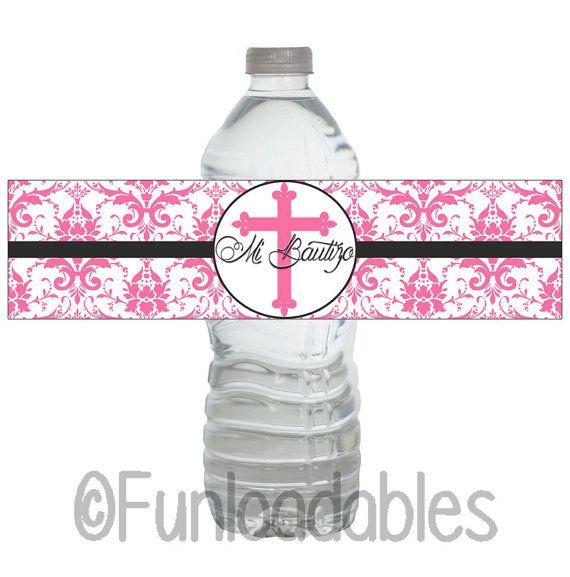 Mi Bautizo  Etiqueta de Botella  Water Bottle by Funloadables