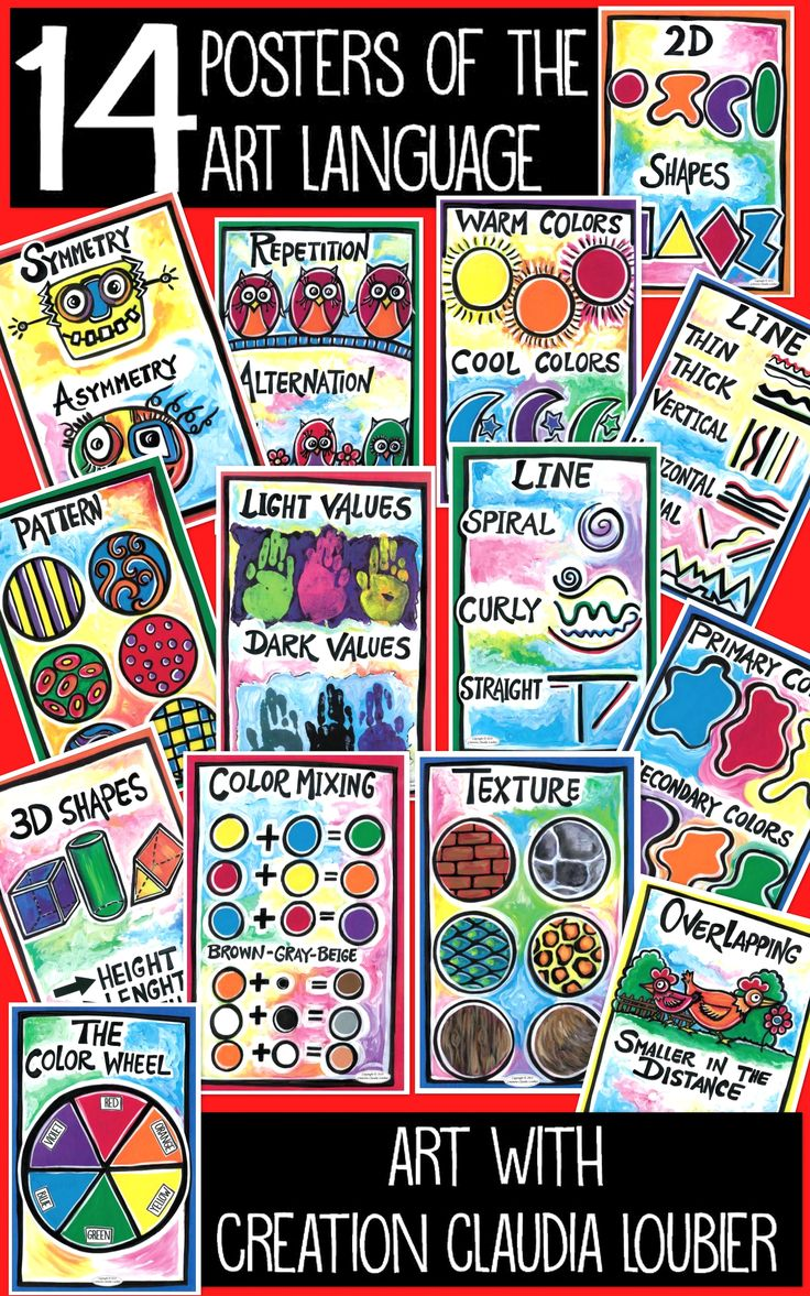 A collection of 14 digital format posters in PDF, illustrating ALL of the ART language in primary school. To help you with your teaching.  Posters are homemade and scanned in professional quality. You can print them or put them onto your Interactive Whiteboard. 18,95$ for all.