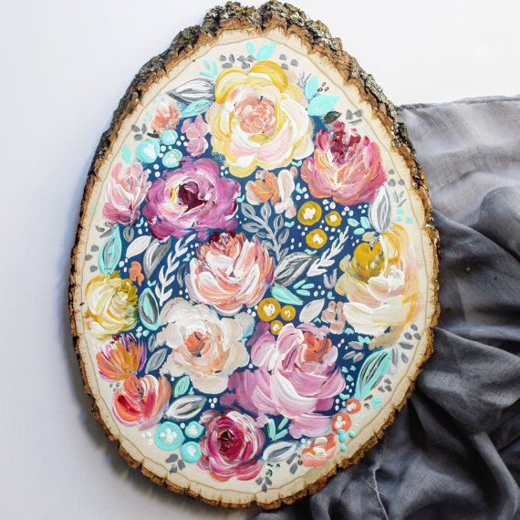 Colorful Floral Wood Slice: Yellow Blue Pink // by KTsCanvases