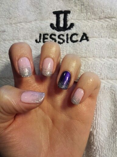 Jessica GELeration in Bellini Baby with Prima Donna and glitter fade.