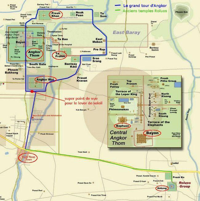 La carte du site d'Angkor