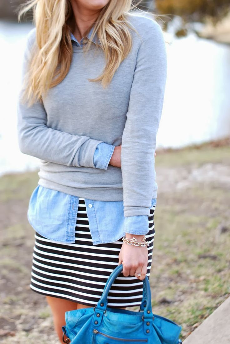 Striped dress, denim shirt, grey sweater then with or without leggings and boots/sandals.