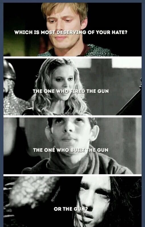 Merlin can't be blamed for her, not completely, maybe a little but... It was her choice